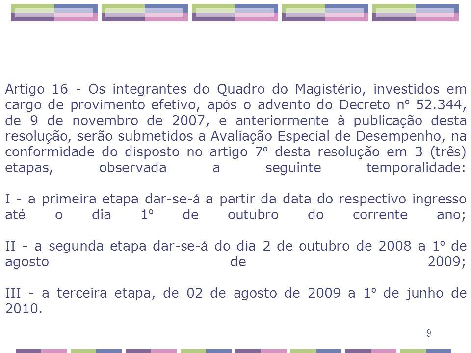Artigo 16 - Os integrantes do Quadro do Magistério, investidos em cargo de provimento efetivo, após o advento do Decreto nº 52.344, de 9 de novembro de 2007, e anteriormente à publicação desta resolução, serão submetidos a Avaliação Especial de Desempenho, na conformidade do disposto no artigo 7º desta resolução em 3 (três) etapas, observada a seguinte temporalidade: I - a primeira etapa dar-se-á a partir da data do respectivo ingresso até o dia 1º de outubro do corrente ano; II - a segunda etapa dar-se-á do dia 2 de outubro de 2008 a 1º de agosto de 2009; III - a terceira etapa, de 02 de agosto de 2009 a 1º de junho de 2010.