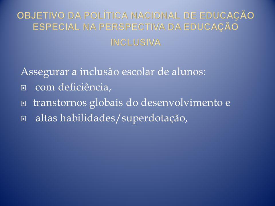 Assegurar a inclusão escolar de alunos:
