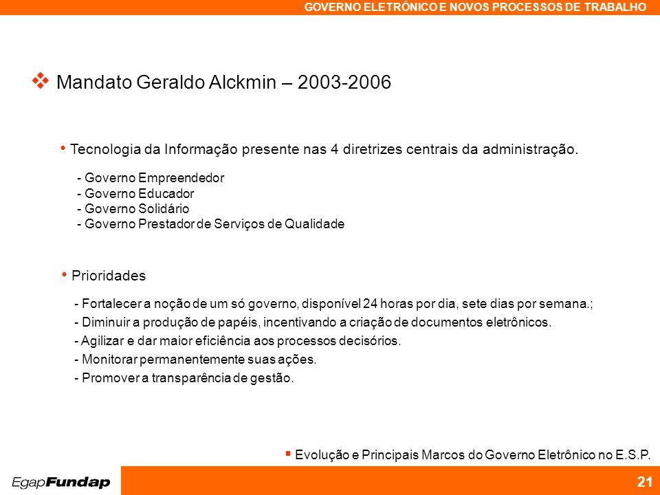 Mandato Geraldo Alckmin – 2003-2006