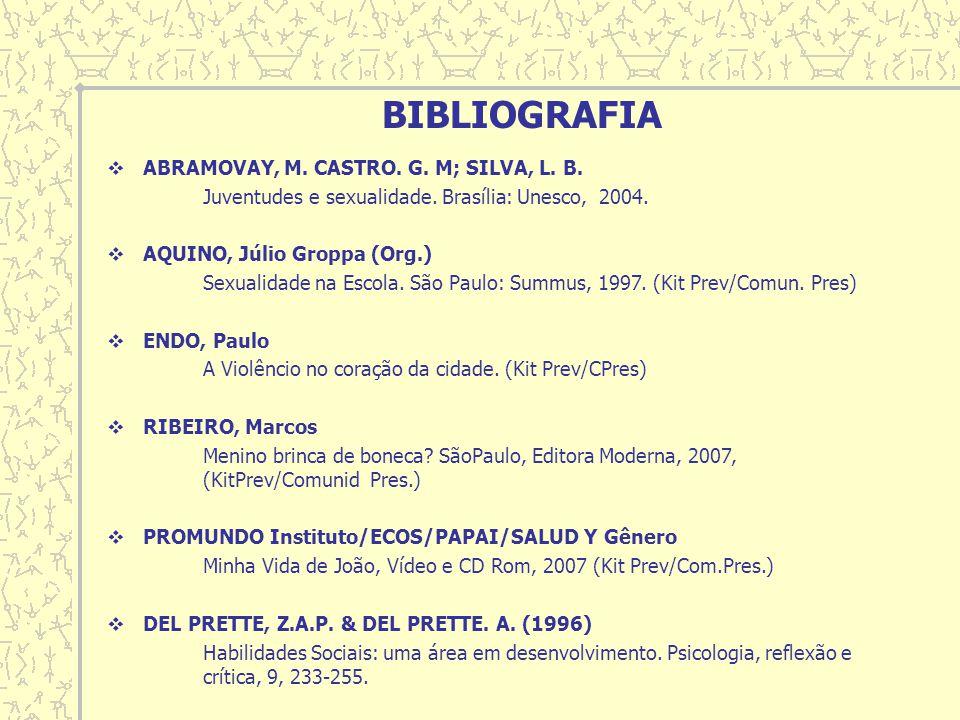 BIBLIOGRAFIA ABRAMOVAY, M. CASTRO. G. M; SILVA, L. B.