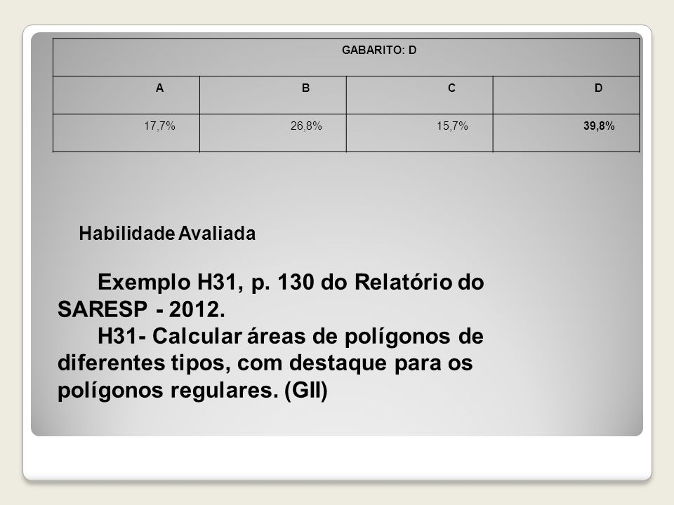 Exemplo H31, p. 130 do Relatório do SARESP - 2012.