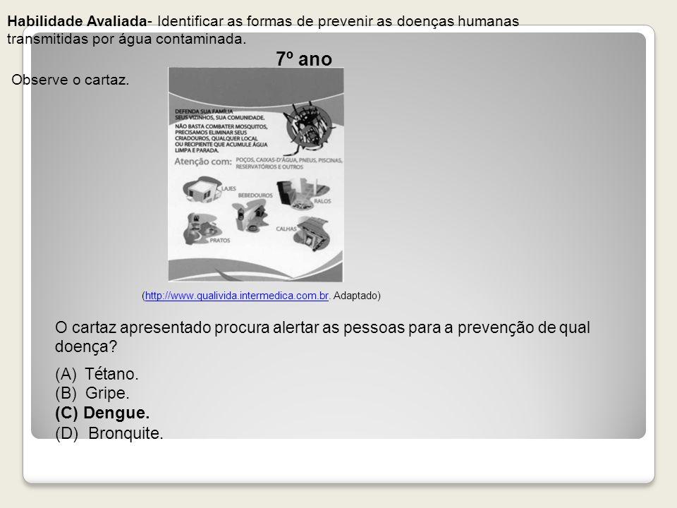 7º ano (C) Dengue. (D) Bronquite.