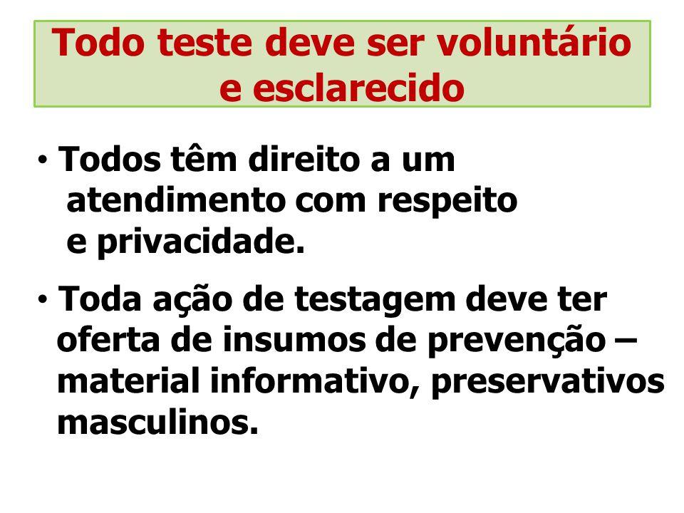 Todo teste deve ser voluntário e esclarecido