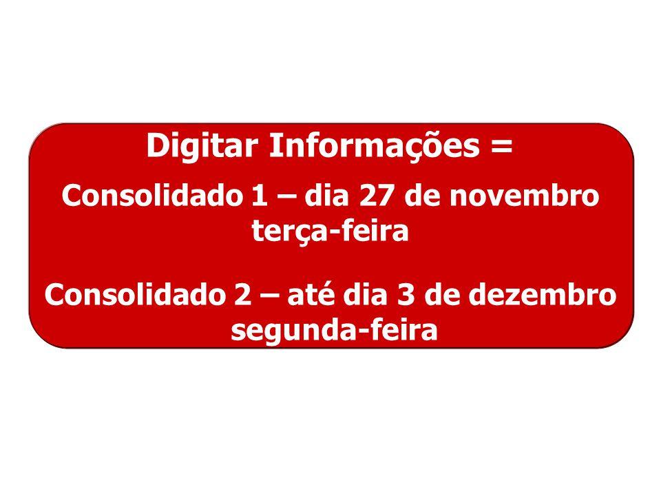 Digitar Informações = Consolidado 1 – dia 27 de novembro terça-feira