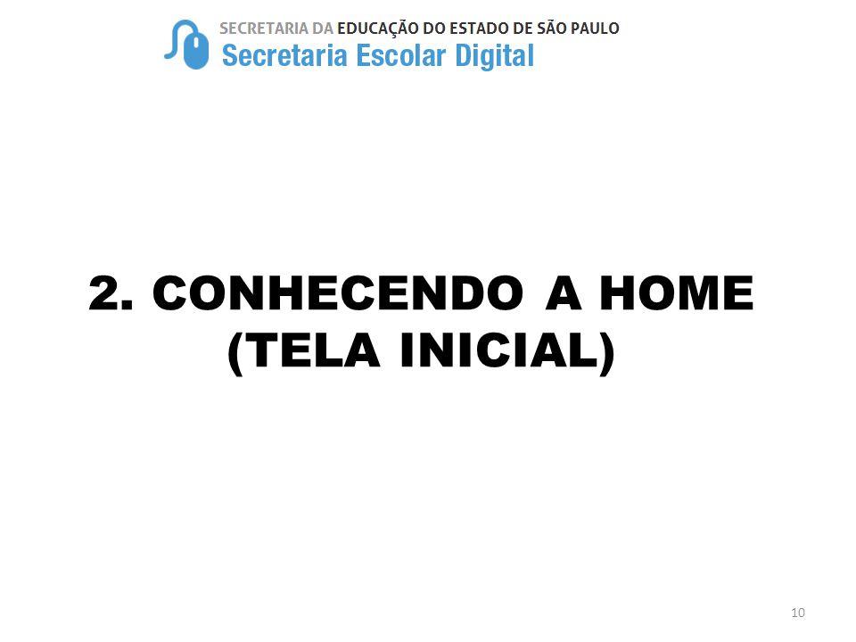 2. CONHECENDO A HOME (TELA INICIAL)