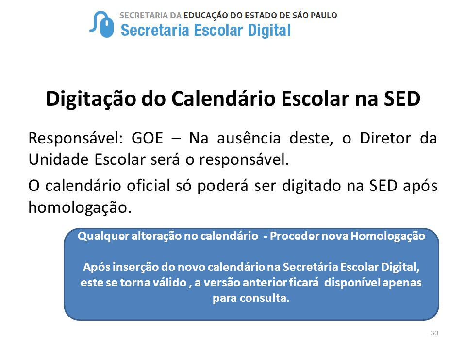 Digitação do Calendário Escolar na SED