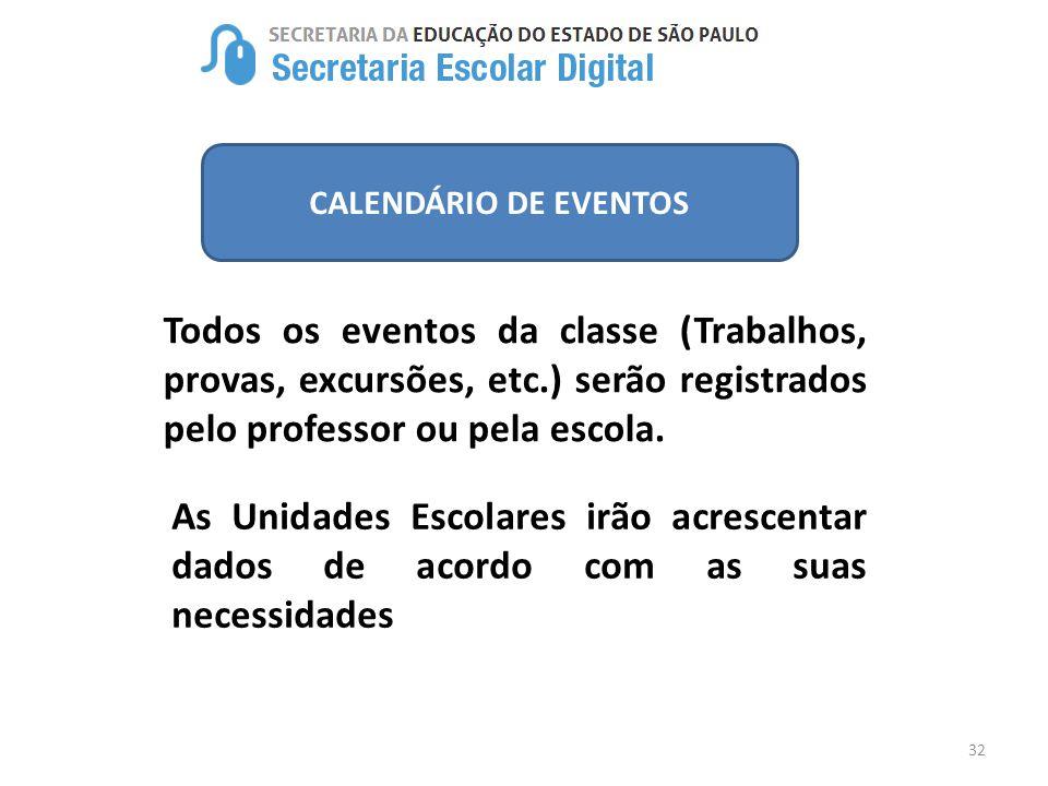 CALENDÁRIO DE EVENTOS Todos os eventos da classe (Trabalhos, provas, excursões, etc.) serão registrados pelo professor ou pela escola.