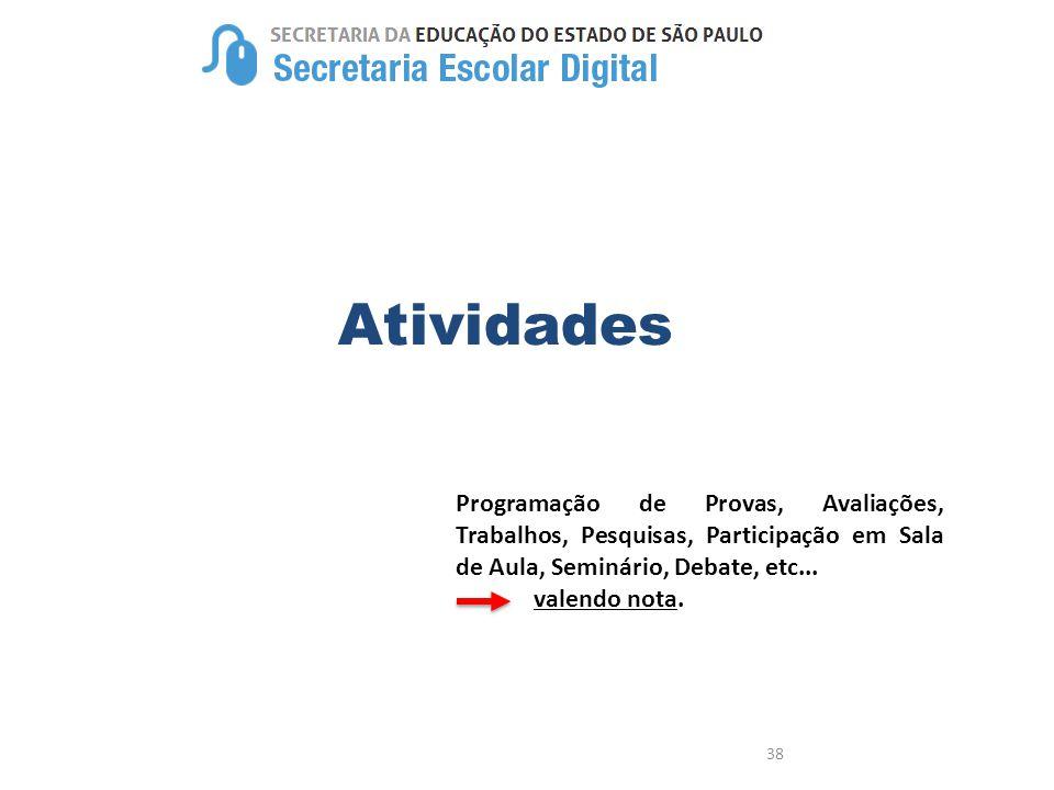 Atividades Programação de Provas, Avaliações, Trabalhos, Pesquisas, Participação em Sala de Aula, Seminário, Debate, etc...