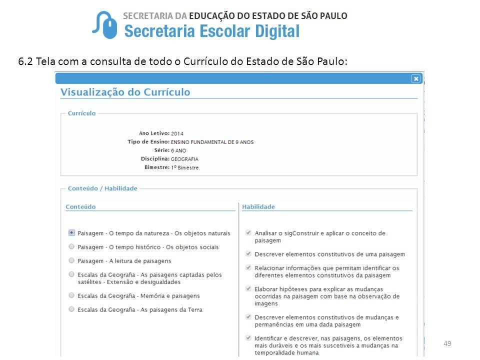 6.2 Tela com a consulta de todo o Currículo do Estado de São Paulo: