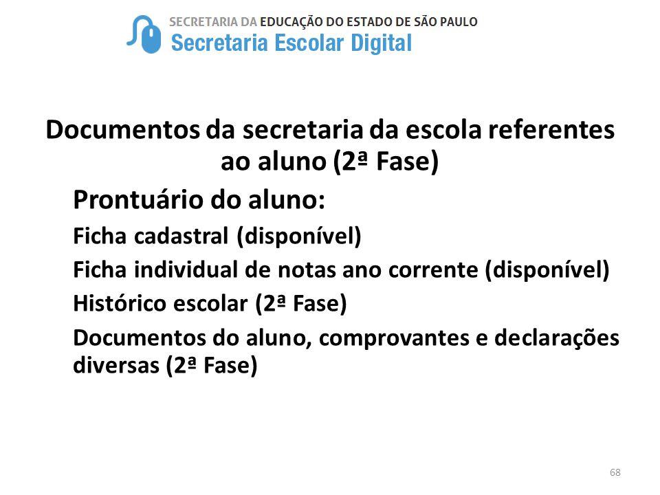 Documentos da secretaria da escola referentes ao aluno (2ª Fase)
