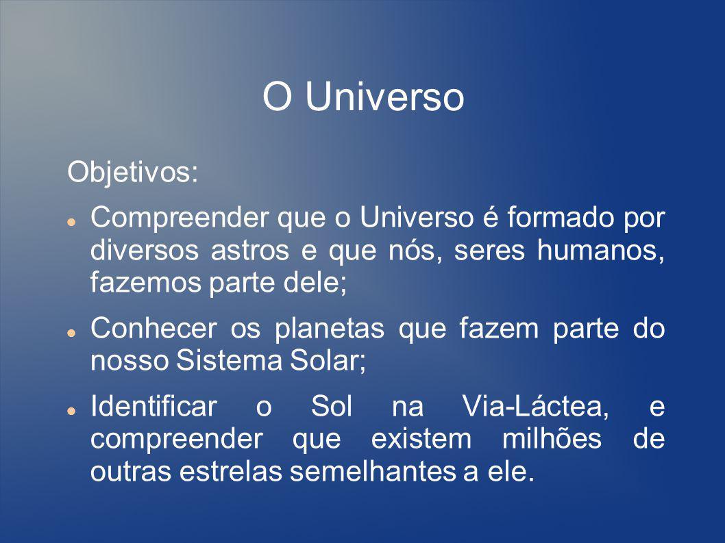 O Universo Objetivos: Compreender que o Universo é formado por diversos astros e que nós, seres humanos, fazemos parte dele;