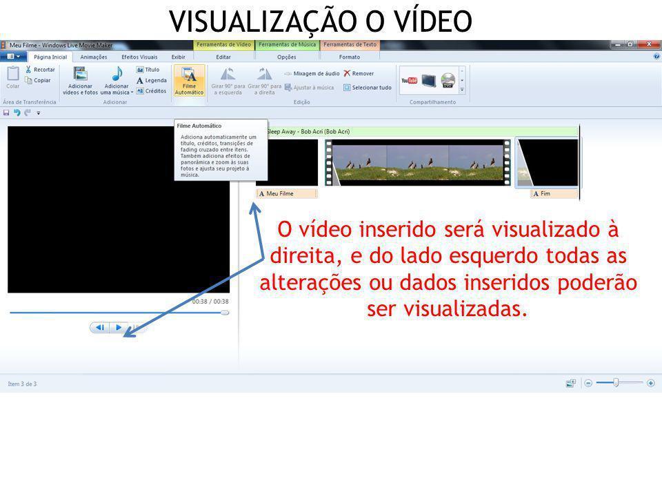 VISUALIZAÇÃO O VÍDEO O vídeo inserido será visualizado à direita, e do lado esquerdo todas as alterações ou dados inseridos poderão ser visualizadas.