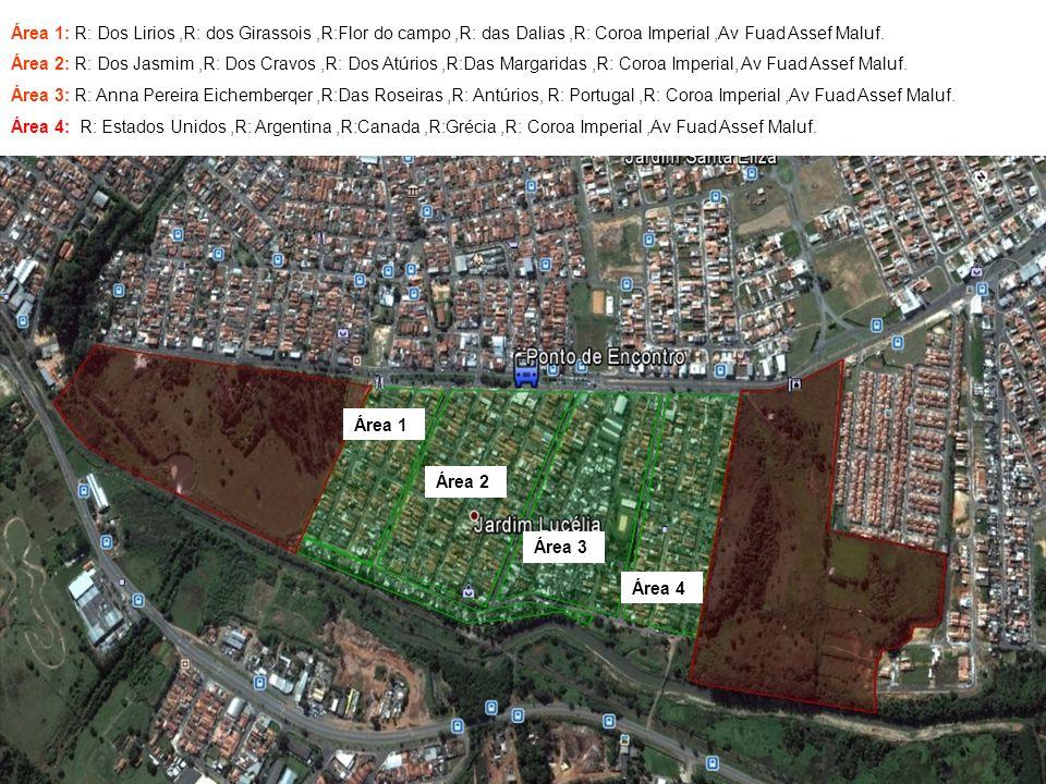 Área 1: R: Dos Lirios ,R: dos Girassois ,R:Flor do campo ,R: das Dalias ,R: Coroa Imperial ,Av Fuad Assef Maluf.