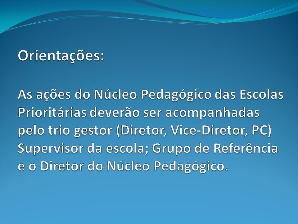 Orientações: As ações do Núcleo Pedagógico das Escolas Prioritárias deverão ser acompanhadas pelo trio gestor (Diretor, Vice-Diretor, PC) Supervisor da escola; Grupo de Referência e o Diretor do Núcleo Pedagógico.