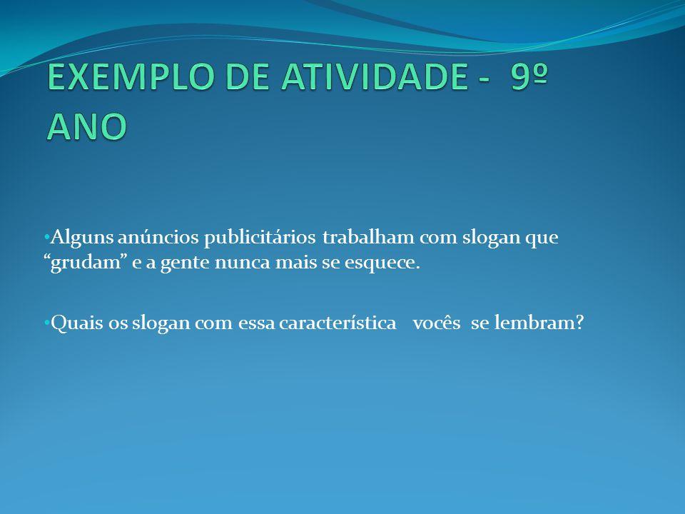 EXEMPLO DE ATIVIDADE - 9º ANO