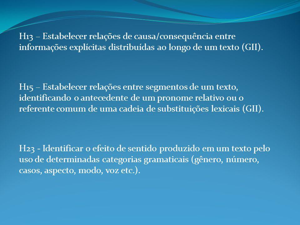 H13 – Estabelecer relações de causa/consequência entre informações explícitas distribuídas ao longo de um texto (GII).