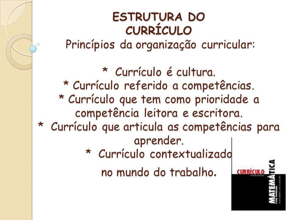 ESTRUTURA DO CURRÍCULO Princípios da organização curricular: