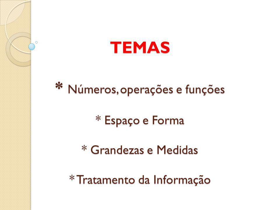 TEMAS. Números, operações e funções. Espaço e Forma