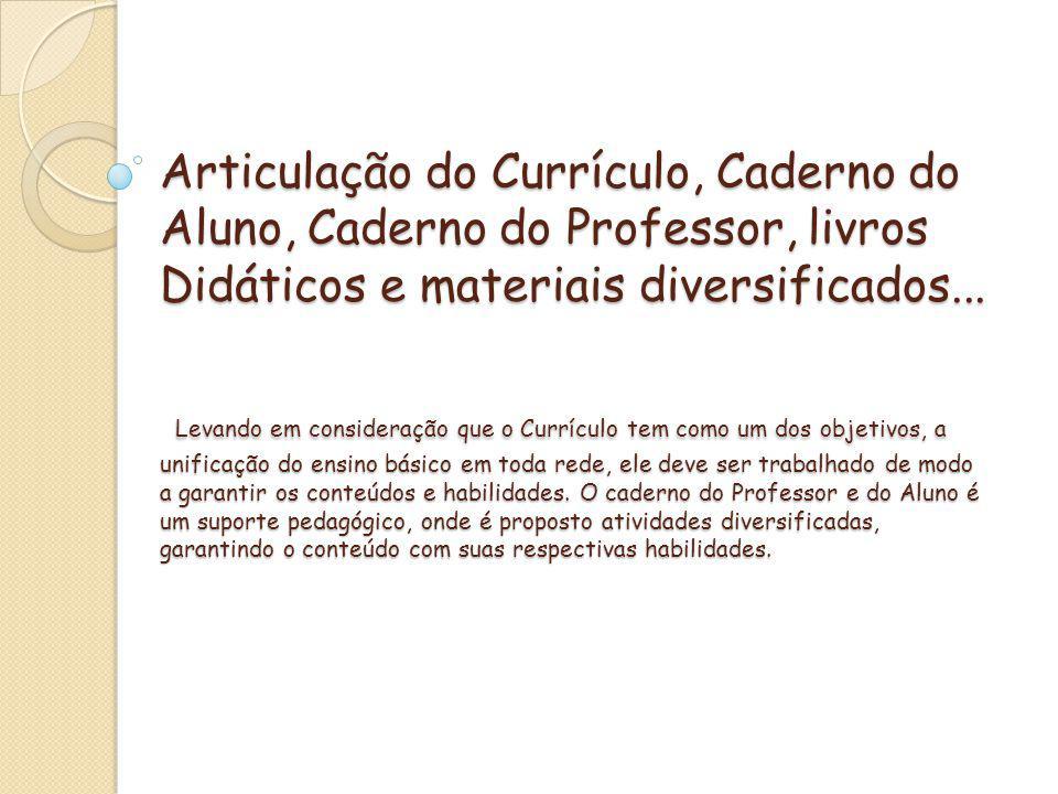 Articulação do Currículo, Caderno do Aluno, Caderno do Professor, livros Didáticos e materiais diversificados...