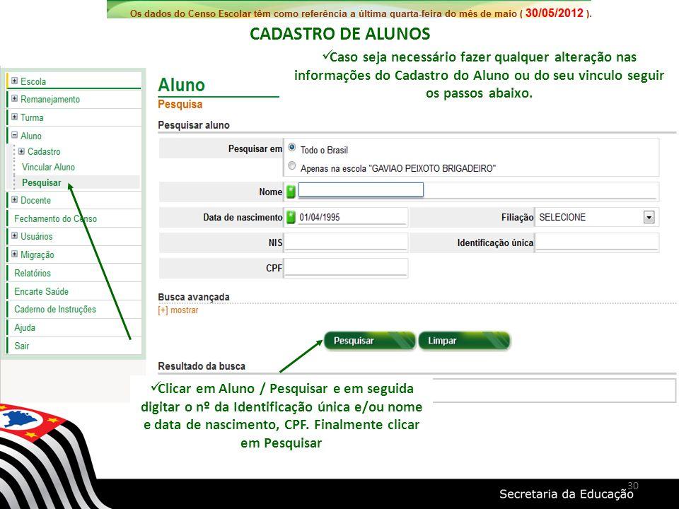 CADASTRO DE ALUNOS Caso seja necessário fazer qualquer alteração nas informações do Cadastro do Aluno ou do seu vinculo seguir os passos abaixo.