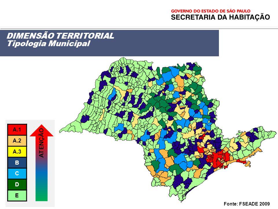 DIMENSÃO TERRITORIAL Tipologia Municipal ATENÇÃO A.1 A.2 A.3 B C D E