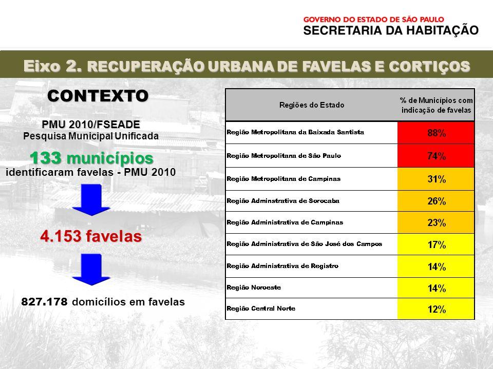 133 municípios identificaram favelas - PMU 2010