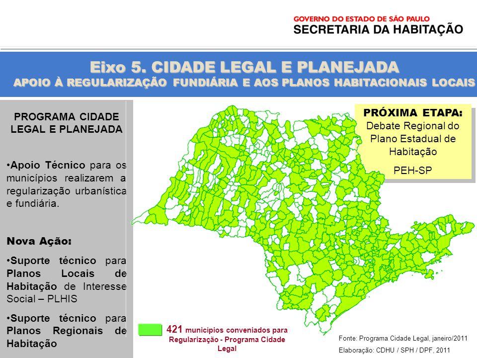 Eixo 5. CIDADE LEGAL E PLANEJADA APOIO À REGULARIZAÇÃO FUNDIÁRIA E AOS PLANOS HABITACIONAIS LOCAIS