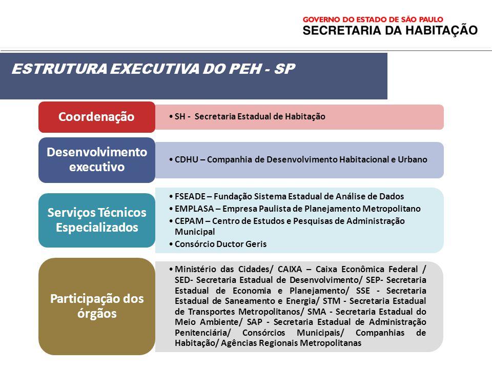 ESTRUTURA EXECUTIVA DO PEH - SP Coordenação Desenvolvimento executivo