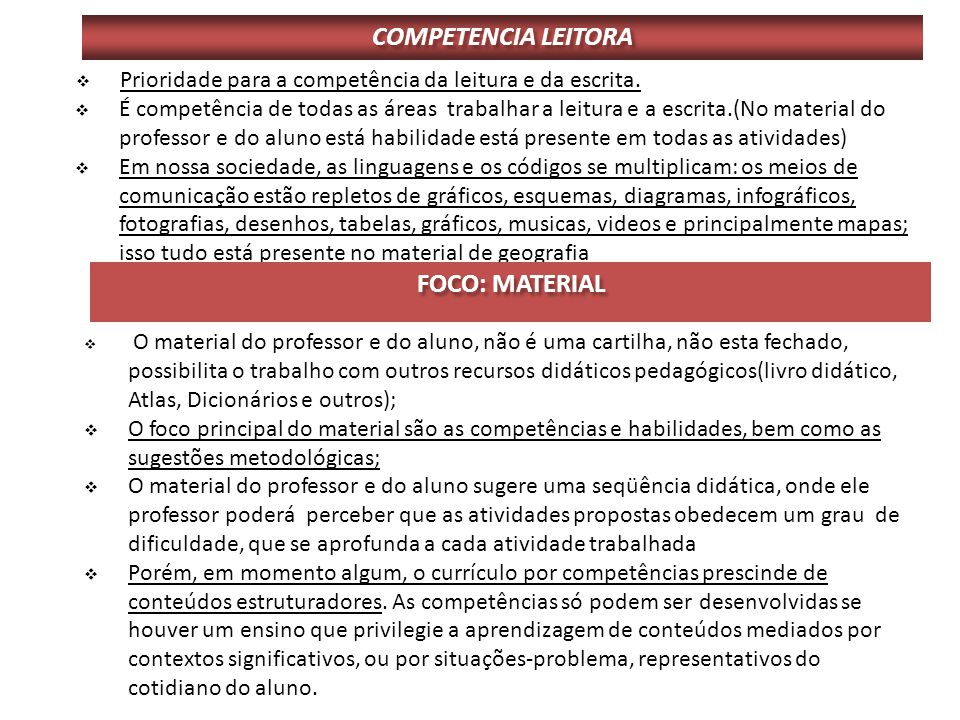 COMPETENCIA LEITORA FOCO: MATERIAL