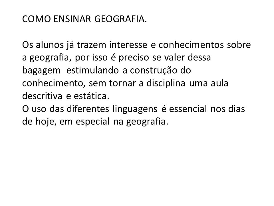 COMO ENSINAR GEOGRAFIA.