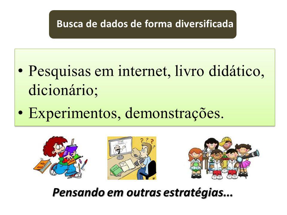 Pesquisas em internet, livro didático, dicionário;