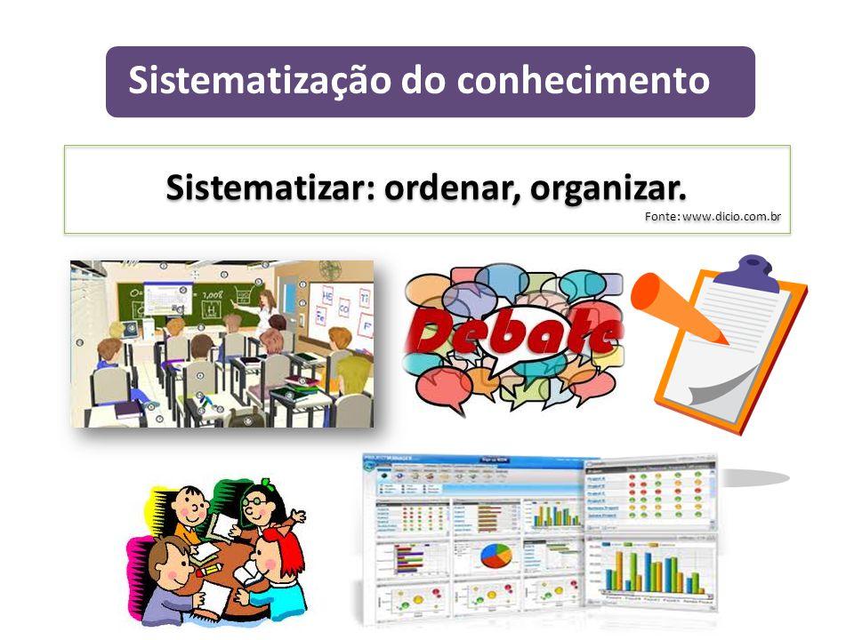 Sistematizar: ordenar, organizar.
