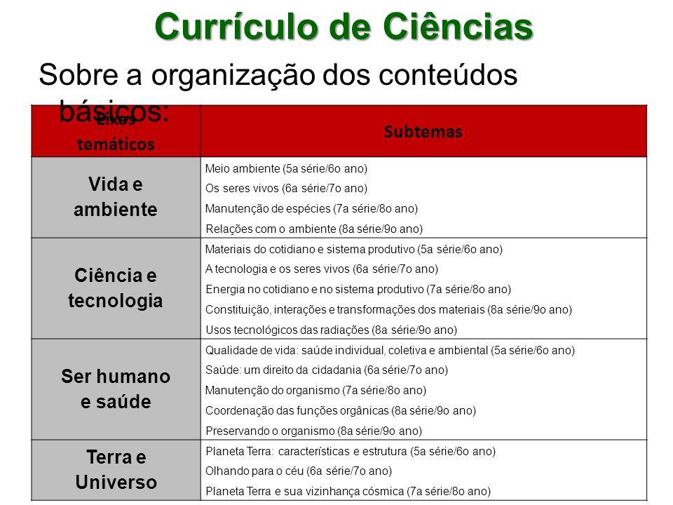 Currículo de Ciências Sobre a organização dos conteúdos básicos: Eixos