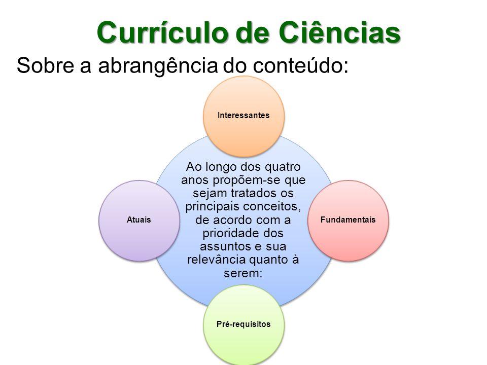 Currículo de Ciências Sobre a abrangência do conteúdo: