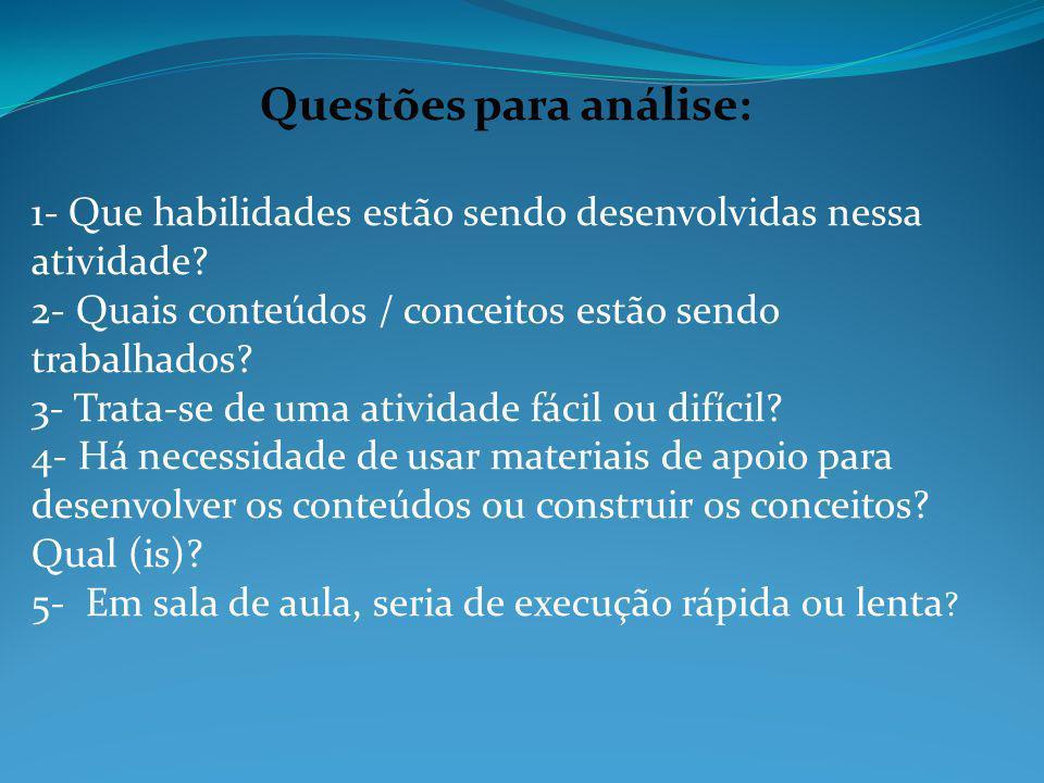Questões para análise:
