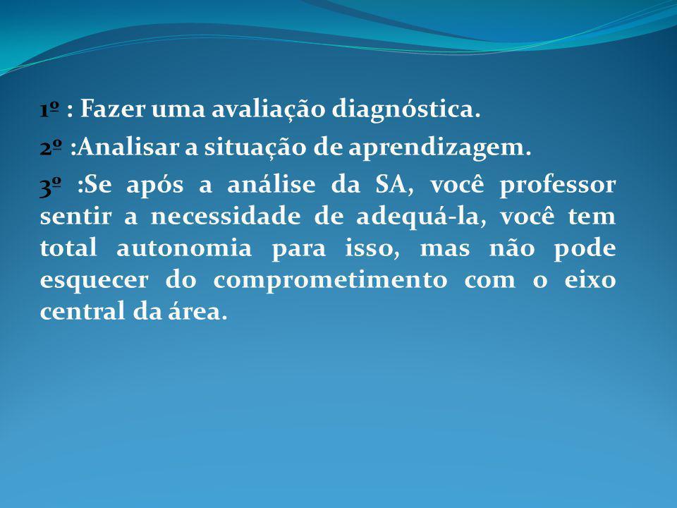 1º : Fazer uma avaliação diagnóstica.