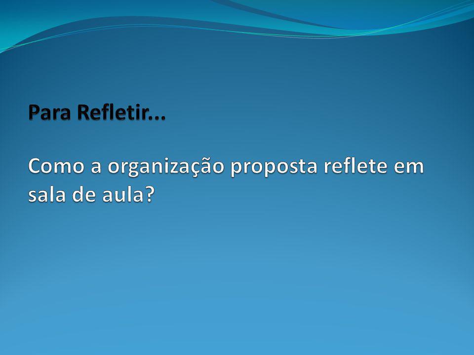 Para Refletir... Como a organização proposta reflete em sala de aula