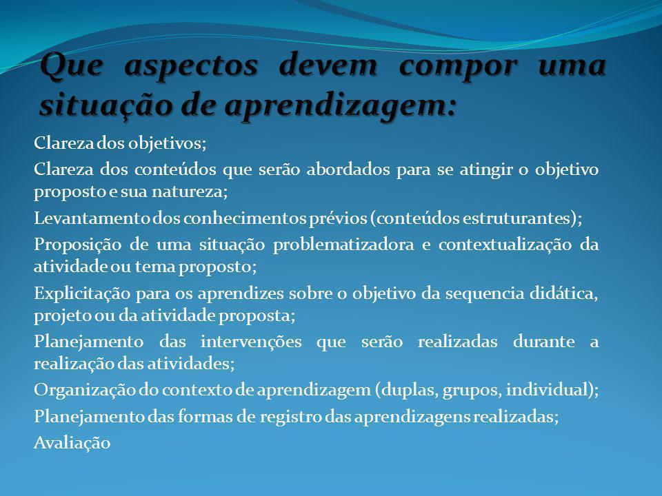 Que aspectos devem compor uma situação de aprendizagem: