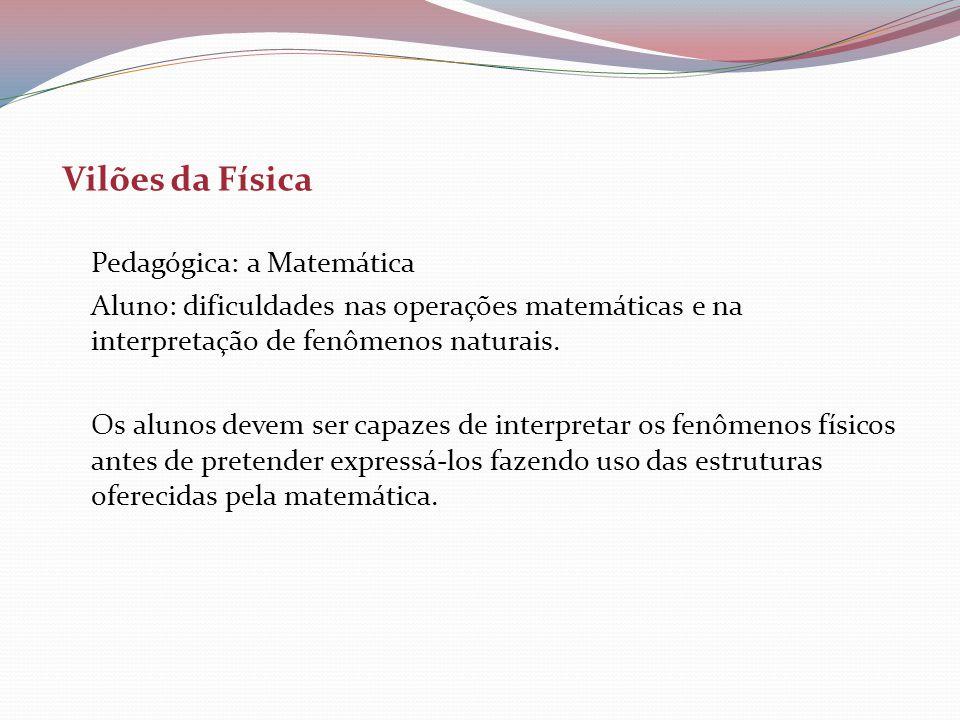 Vilões da Física Pedagógica: a Matemática. Aluno: dificuldades nas operações matemáticas e na interpretação de fenômenos naturais.
