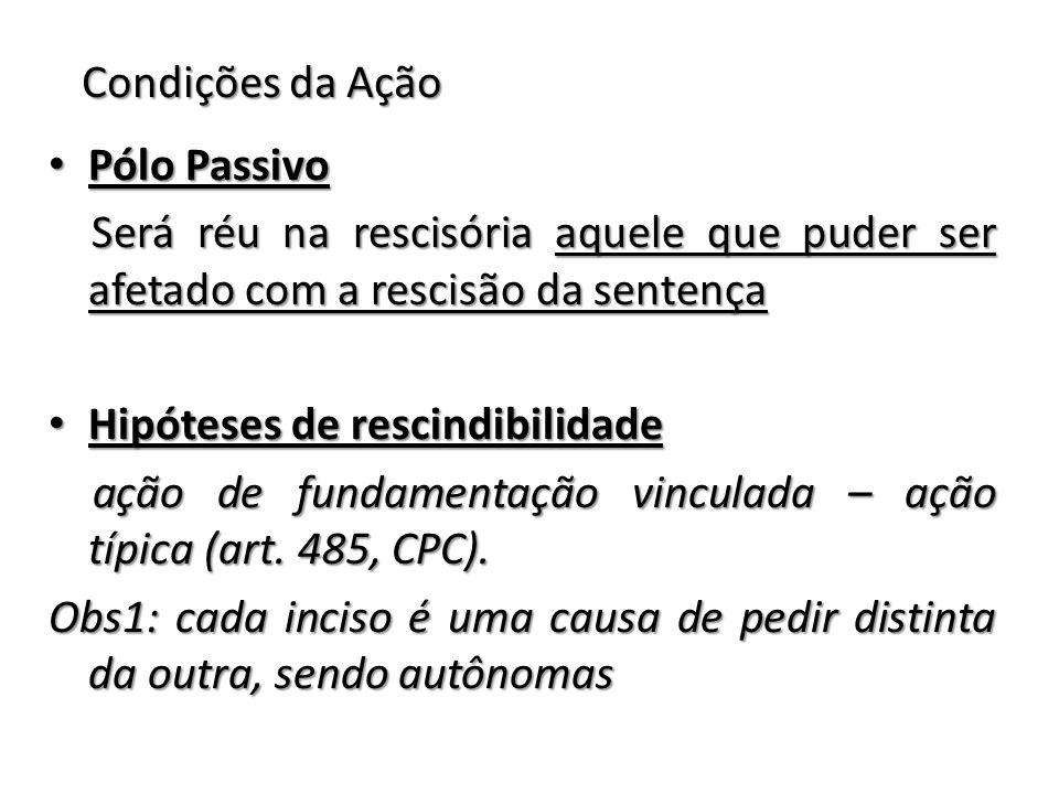 Condições da Ação Pólo Passivo. Será réu na rescisória aquele que puder ser afetado com a rescisão da sentença.