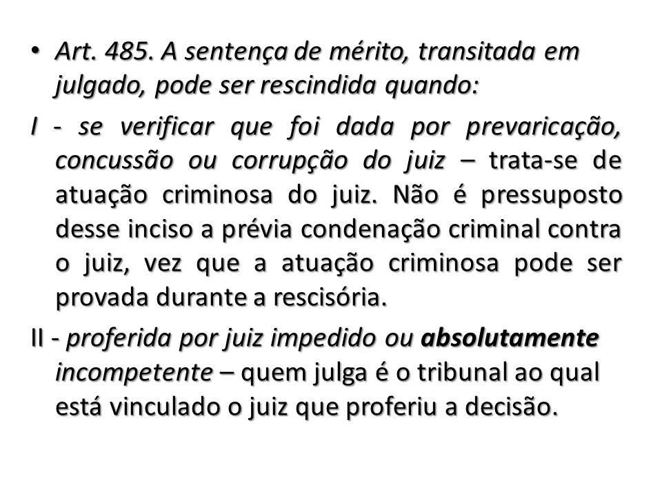 Art. 485. A sentença de mérito, transitada em julgado, pode ser rescindida quando: