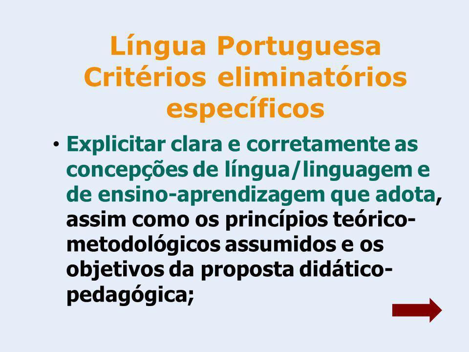 Língua Portuguesa Critérios eliminatórios específicos