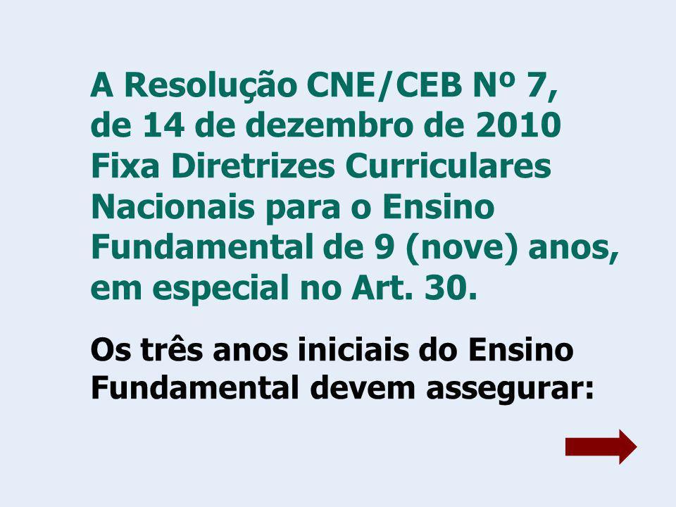 A Resolução CNE/CEB Nº 7, de 14 de dezembro de 2010 Fixa Diretrizes Curriculares Nacionais para o Ensino Fundamental de 9 (nove) anos, em especial no Art. 30.