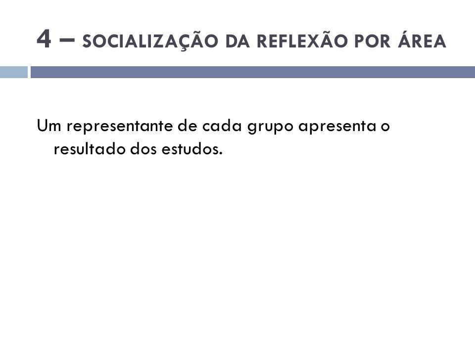 4 – SOCIALIZAÇÃO DA REFLEXÃO POR ÁREA
