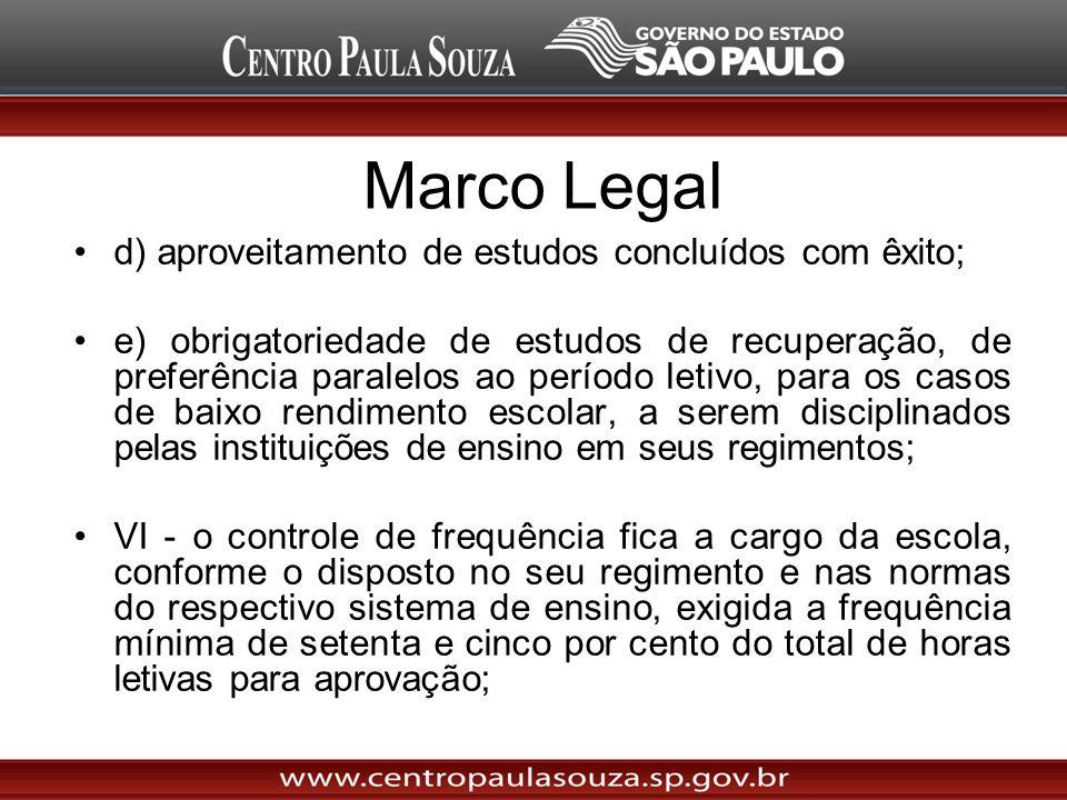 Marco Legal d) aproveitamento de estudos concluídos com êxito;