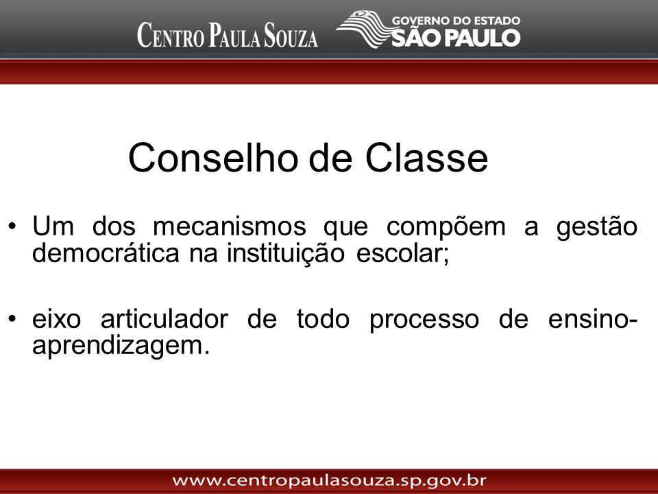Conselho de Classe Um dos mecanismos que compõem a gestão democrática na instituição escolar;