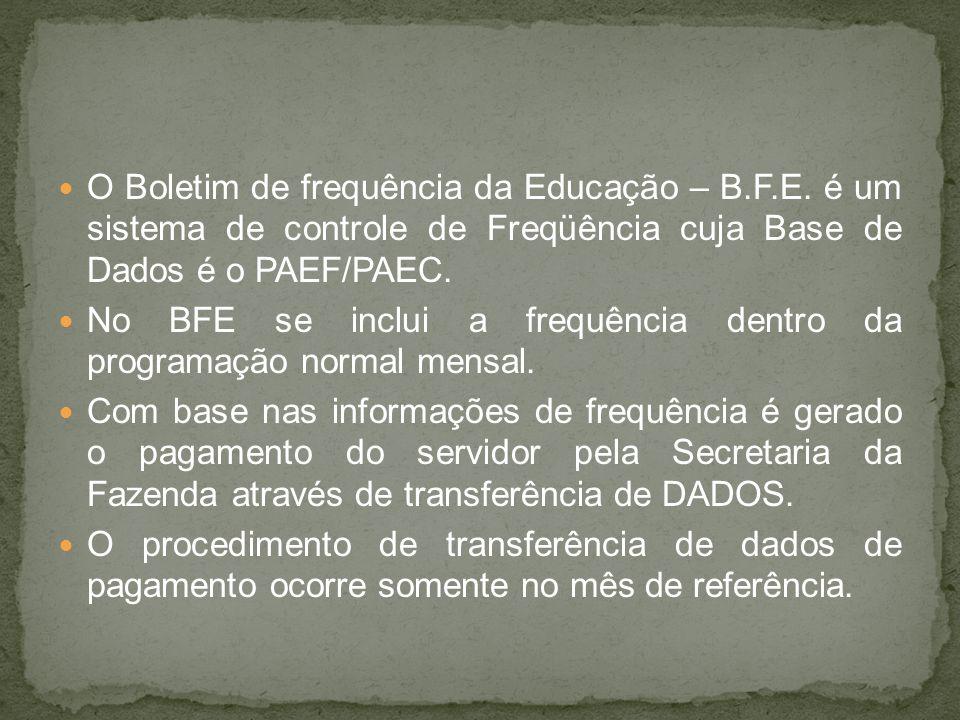 O Boletim de frequência da Educação – B. F. E