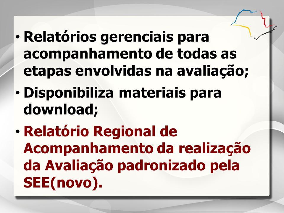 Relatórios gerenciais para acompanhamento de todas as etapas envolvidas na avaliação;