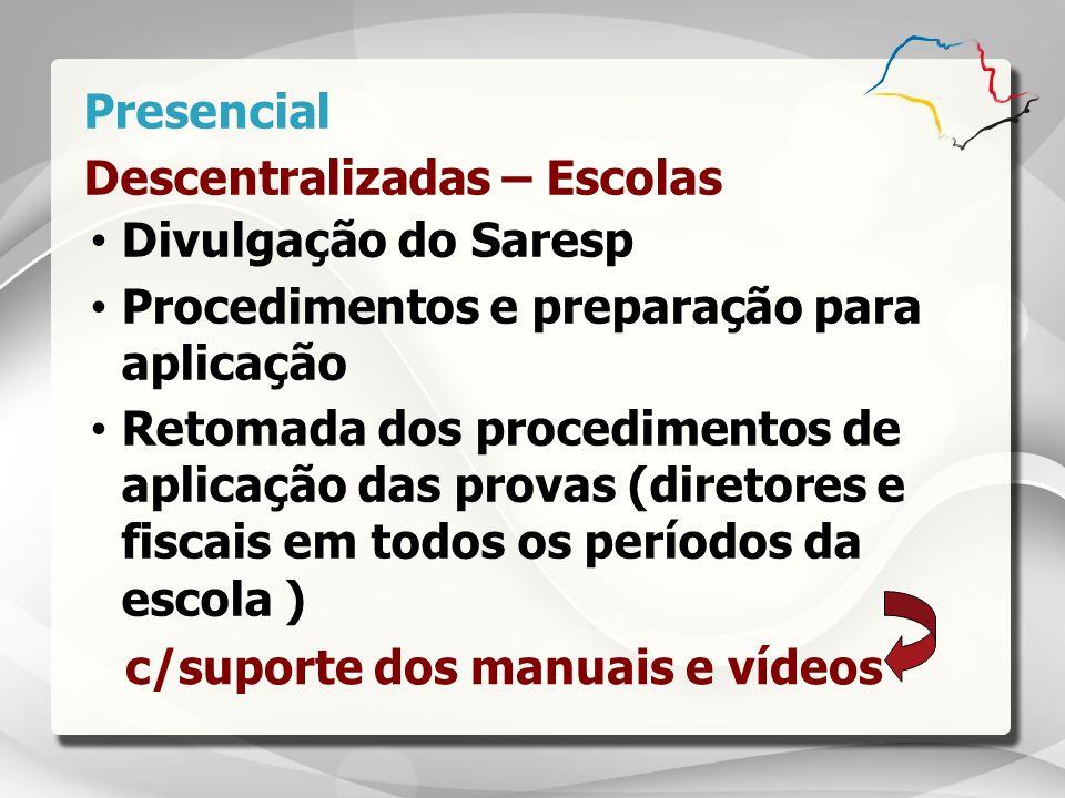 Presencial Descentralizadas – Escolas. Divulgação do Saresp. Procedimentos e preparação para aplicação.