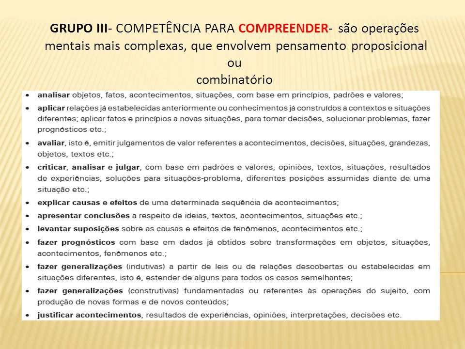 GRUPO III- COMPETÊNCIA PARA COMPREENDER- são operações